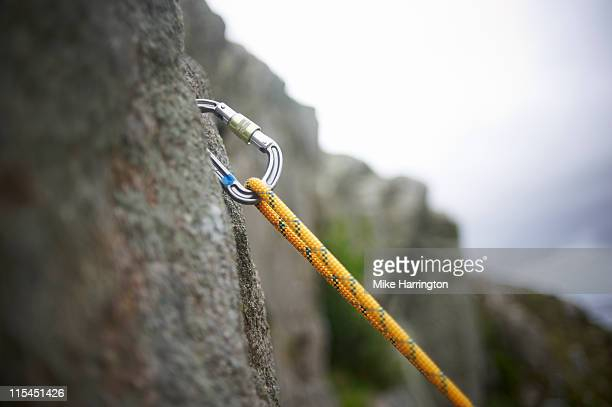 Carabiner Secured In Rock Surface