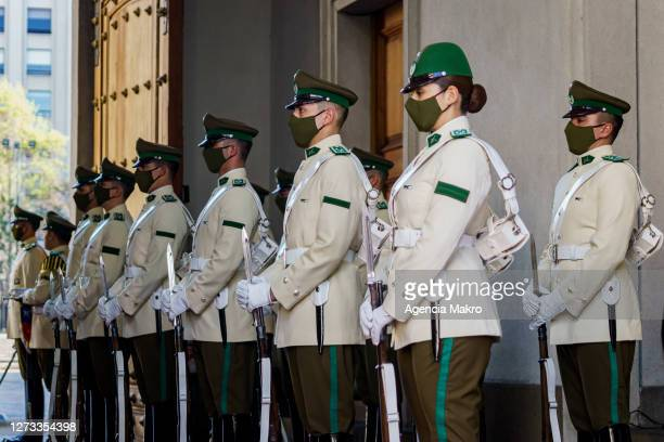 Carabineros Palace Guard awaits the arrival of the President of Chile Sebastián Piñera on September 18, 2020 in Santiago, Chile. Government imposed...