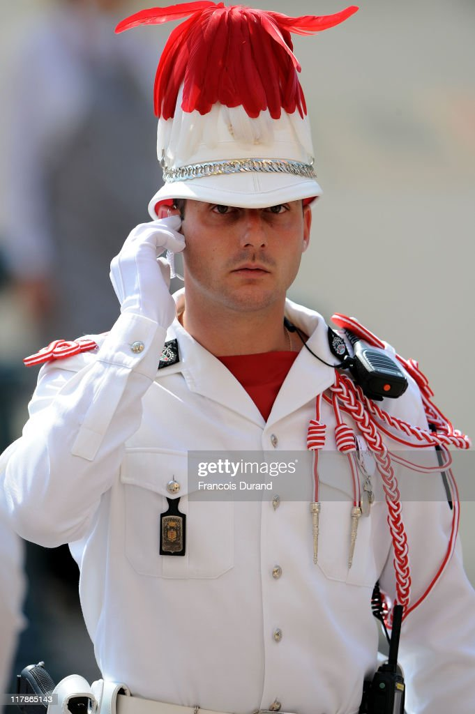 A Carabinier of Prince Albert II of Monaco looks on prior to the civil ceremony of the Royal Wedding of Prince Albert II of Monaco to Charlene Wittstock at the Prince's Palace on July 1, 2011 in Monaco. The ceremony will take place in the Throne Room of the Prince's Palace of Monaco, followed by a religious ceremony to be conducted in the main courtyard of the Palace on July 2. With her marriage to the head of state of Principality of Monaco, Charlene Wittstock will become Princess consort of Monaco and gain the title, Princess Charlene of Monaco. Celebrations including concerts and firework displays are being held across several days, attended by a guest list of global celebrities and heads of state.