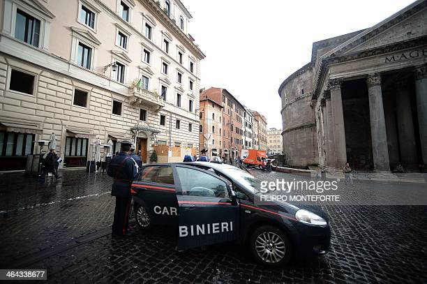 A Carabiniere military police car is parked in front of Ciuccula bar one of the around 20 restaurants and bars seized by police in Rome's historic...