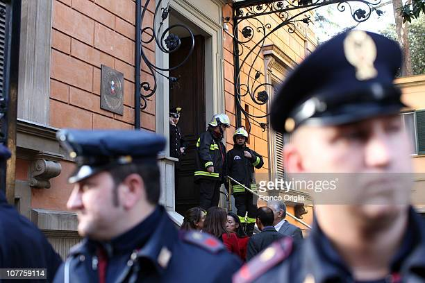 Carabinierei stands in front of the Chilean Embassy were a parcel bomb exploded earlier on December 23 2010 in Rome Italy The bomb believed to be the...