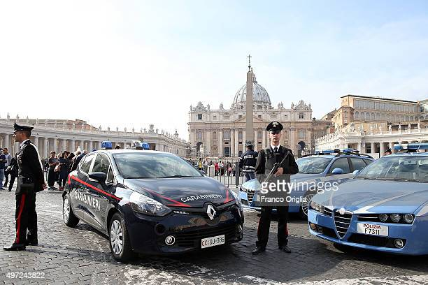 Carabinieri and a policeman patrol in front St Peter's Square on November 15 2015 in Vatican City Vatican After Friday's terror attacks in Paris...