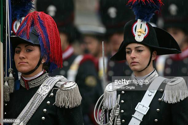Carabinieri attend the Easter Mass given by Pope Francis at St Peter's Square on April 5 2015 in Vatican City Vatican Tens of thousands of people...