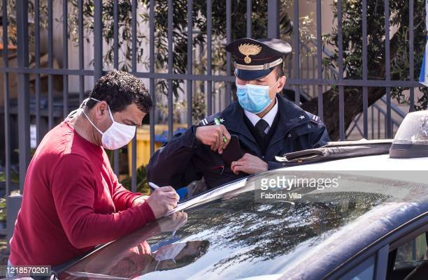 Carabinieri check on drivers on Easter Monday during the Covid emergency19 on April 13 2020 in Catania Italy Easter celebrations go on throughout...