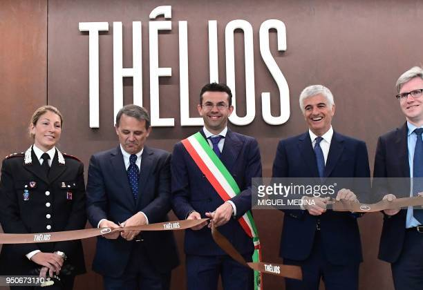 Carabinieri di Belluno commander Captain Emanuela Cervellera CEO of Thelios industry Giovanni Zoppas Longarone Major Roberto Padrin and Deputy...