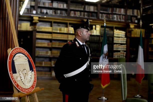 Carabinieri during the restitution ceremony of 594 ex voto paintings unlawfully removed from the Mexican cultural heritage on March 6 2019 in Rome...