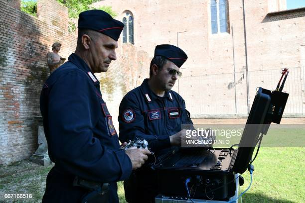 Carabinieri fly a drone equipped with a thermal camera to securize the area during the meeting of Foreign Affairs Ministers from the Group of Seven...