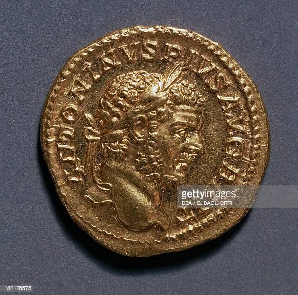 Caracalla aureus bearing the image of the Emperor Roman coins 3rd century AD