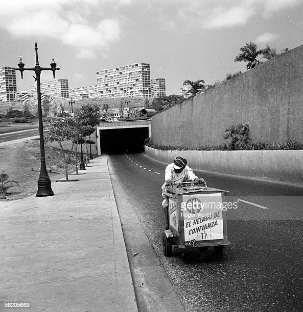 Caracas Icecream seller on a highway March 1959