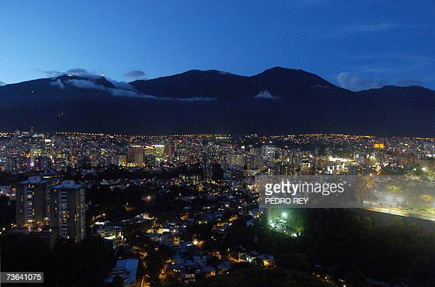 Aerial view of Caracas City and the El Avila mountain 12 March 2007 This city will be one of the venues of the next Copa America Venezuela 2007 AFP...