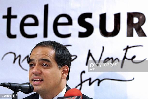 Andres Izarra director de la empresa de Television Telesur participa en una conferencia de prensa en Caracas el 24 de noviembre de 2006 Los cargos...