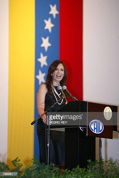 La primera dama y senadora de Argentina Cristina Fernandez de Kirchner pronuncia un discurso para la comunidad judia de Venezuela en el club Hebraica...