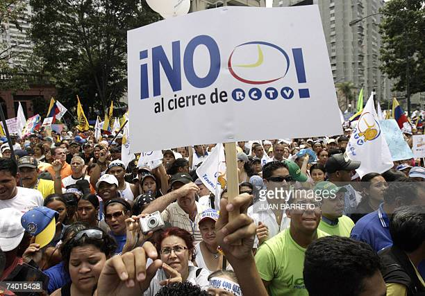 TO GO WITH AFP STORY Radio Caracas Television private television workers carry out a demonstration in support of the channel 21 April 2007 in Caracas...