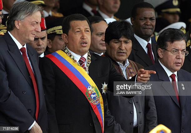 Venezuelan President Hugo Chavez speaks with his counterparts Nestor Kirchner of Argentina Evo Morales of Bolivia and Nicanor Duarte of Paraguay...