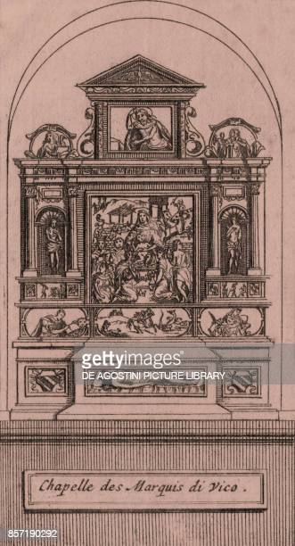 Caracciolo di Vico Chapel Church of San Giovanni a Carbonara Naples Campania Italy copper engraving ca 75x13 cm from Les delices de l'Italie qui...