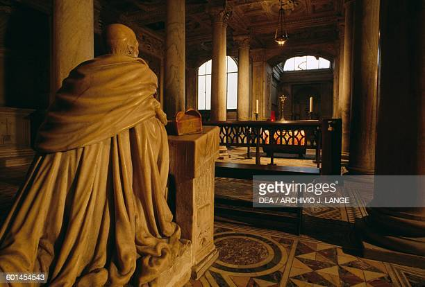 Carafa or Succorpo of San Gennaro chapel 14971506 with the back of the Statue of Cardinal Oliviero Carafa at Prayer in the foreground Cathedral of...