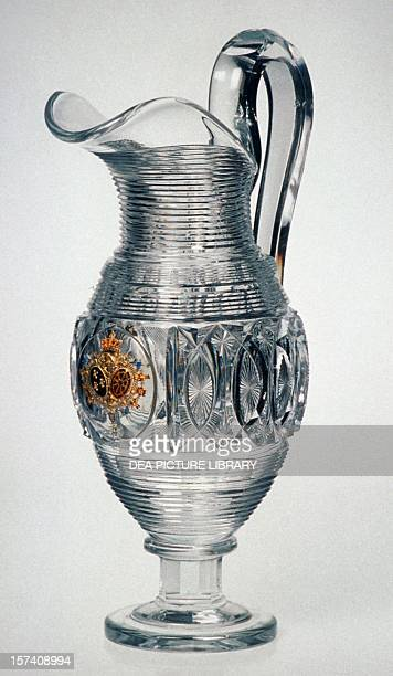 Carafe in blown glass and engraved enamel on gold depicting French and Navarre coats of arms for the visit of Charles X manufactured by Baccarat 1828...