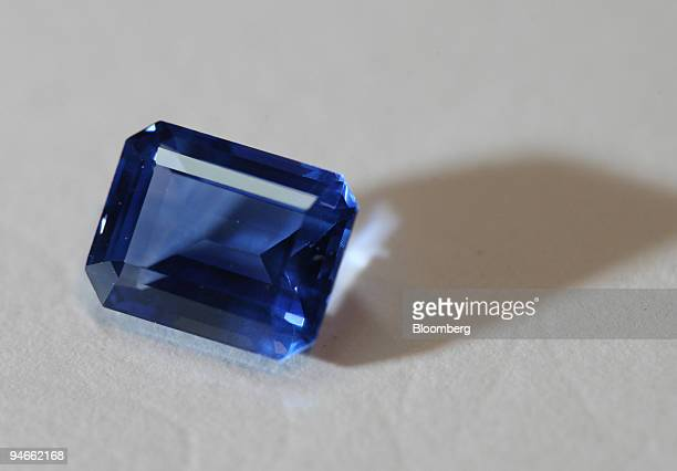 A 214 carat blue sapphire from Duttson Diamonds is displayed in a workshop in London UK Thursday April 27 2006