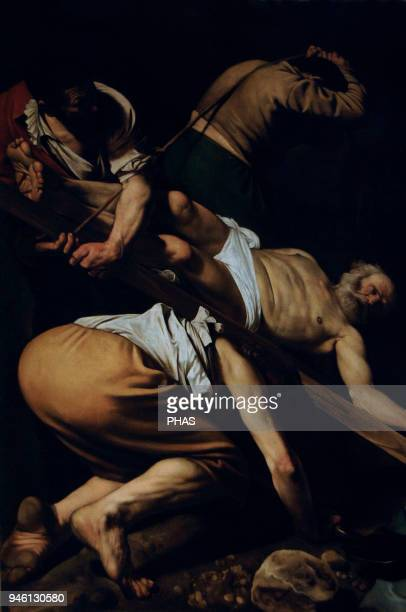 Caravaggio Italian painter The Crucifixion of Saint Peter 1601 Painted for the Cerasi Chapel of Santa Maria del Popolo in Rome Italy