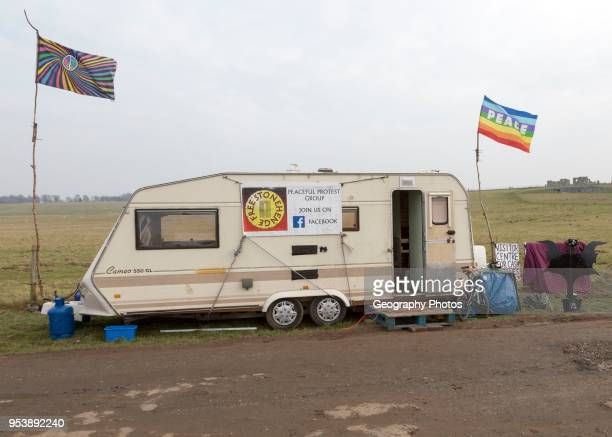 Caravan campaign banner Peace flag for 'Free Stonehenge access campaign Stonehenge Wiltshire England UK