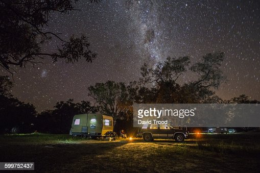 caravan camping under the stars in outback austral stock
