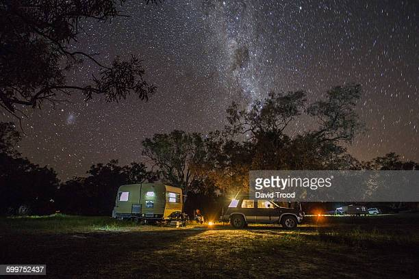 Caravan camping under the stars in outback Austral