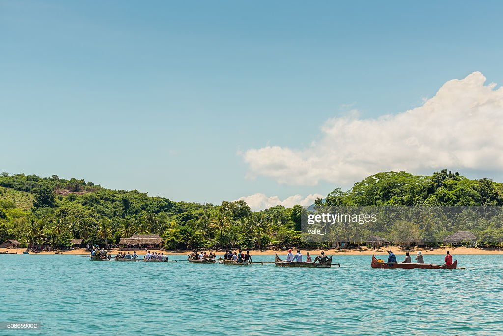 Caravan Malagasy traditional outrigger canoes : Stock Photo