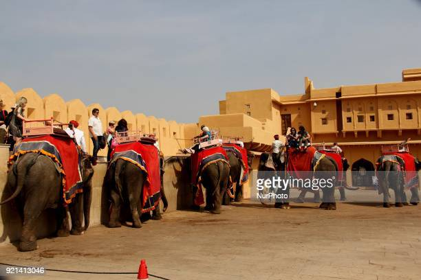 Caravan of elephants inside Amber Fort complex in Jaipur Rajasthan on 20 February 2018 Jaipur is the capital of Indias Rajasthan state It evokes the...