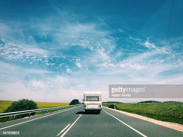 Caravan on a beatiful road