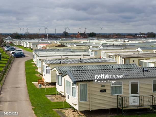 Caravan park along the Seafront between Mablethorpe and Sutton on Sea, Lincolnshire, UK .