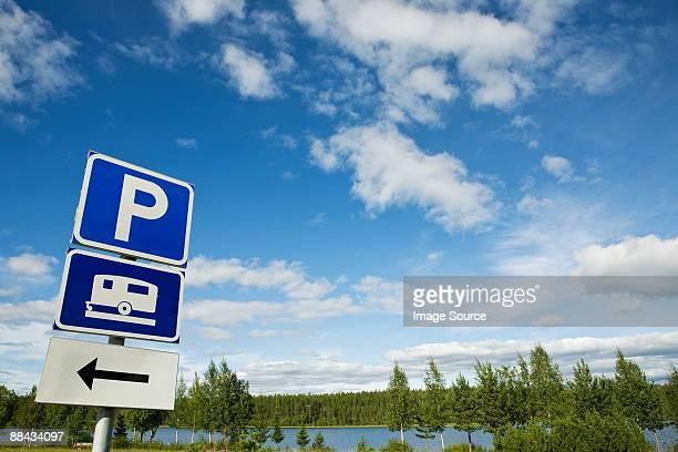 Caravan parking sign in lapland