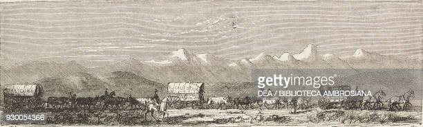 Caravan, United States of America, drawing from The City of the Saints, among the Mormons and across the Rocky Mountains to California by Richard...
