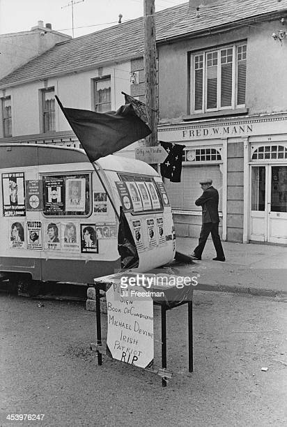 A caravan with posters showing support for the 1981 Irish hunger strike along with a book of condolences for the family of Irish National Liberation...
