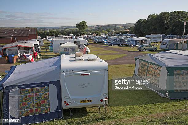 Caravans and tents at camp site Minehead Somerset England
