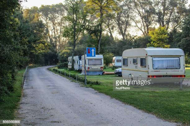 Caravans at the camping at the Gardno lake in Slowinskie Lakeland are seen in Retowo on 1 October 2017 People enjoy sunny and warm autumn weather...