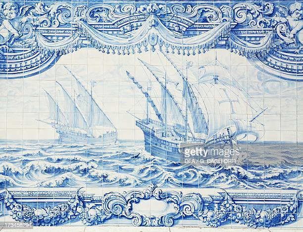 Caravel exploring the African coast detail of an azulejos Portugal 18th century