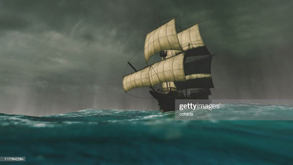 Caravel sailing the ocean during a storm : Stock Photo