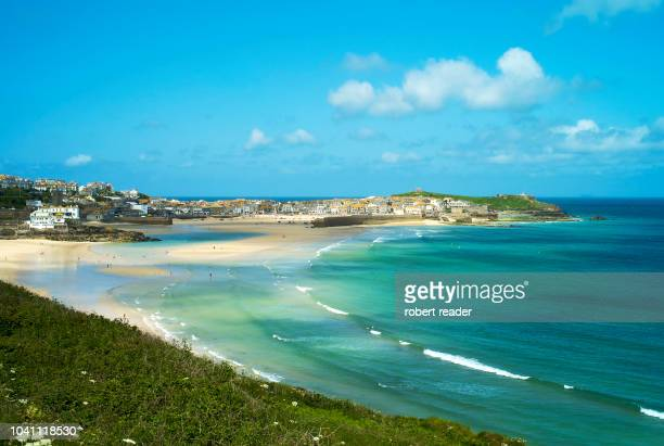 carbis bay, st ives, cornwall, england - st. ives cornwall stock pictures, royalty-free photos & images