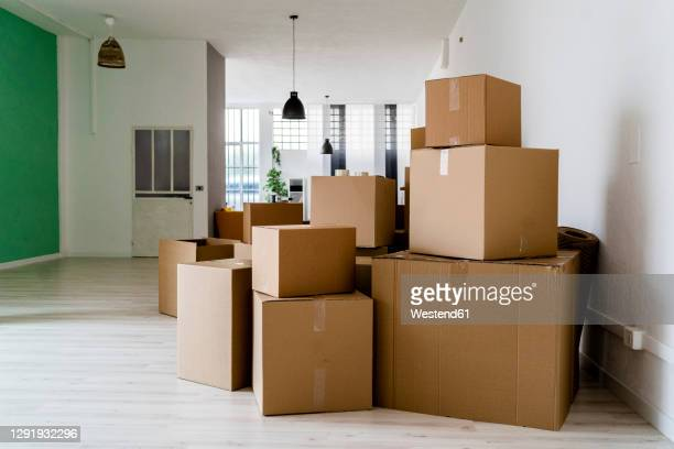 carboard boxes in living room of new house - cardboard box stock pictures, royalty-free photos & images