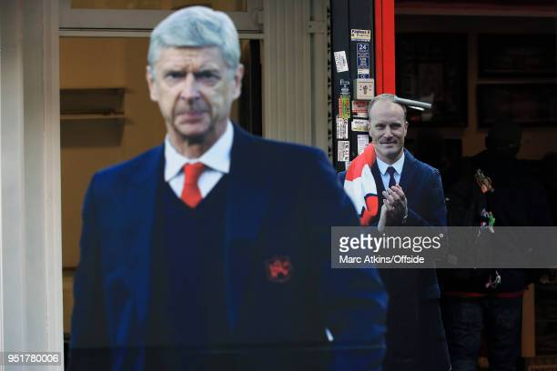 Carboard cutouts of Arsene Wenger manager of Arsenal and former player Dennis Bergkamp during the UEFA Europa League Semi Final 1st Leg match between...