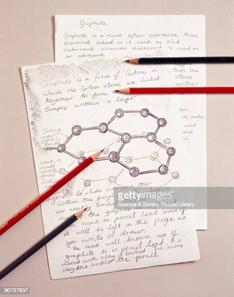 Carbon atoms drawn in graphite with pencils lying on top of the paper Graphite is an allotrope of carbon in which each carbon atom is linked to three...