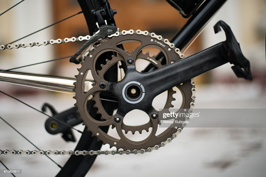 Carbon bicycle crankset : Stock Photo