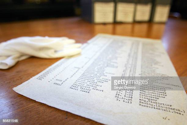 A carbon copy of the original Schindler's List is seen following its discovery by The State Library's Dr Olwen Pryke at The State Library Of New...