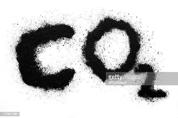 Kohlendioxid CO 2 in Kohle auf white paper