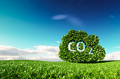 Carbon dioxide emissions control concept. 3d rendering of co2 cloud on fresh spring meadow with blue sky in background.