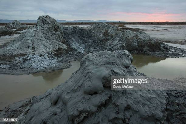 Carbon dioxide gas from deep underground fissures bubbles up through geothermal mudpots or mud volcanoes over the southern San Andreas earthquake...
