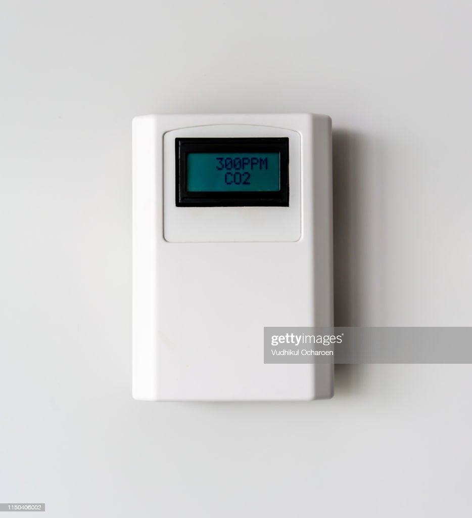 Carbon dioxide level. Digital CO2 meter equipment isolated on white background. : Stock Photo