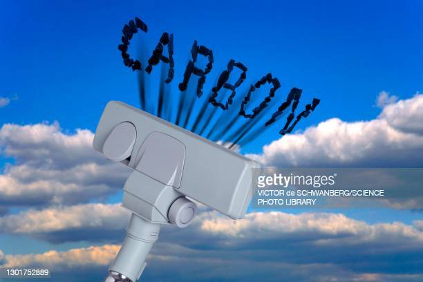 carbon dioxide removal, conceptual composite image - absence stock pictures, royalty-free photos & images