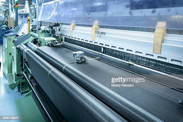 Carbon fibre loom in detail in carbon fibre factory
