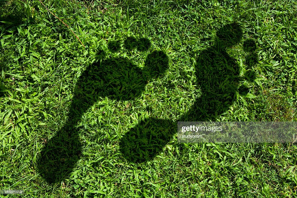 Carbon footprint imprinted in the grass : Stock Photo